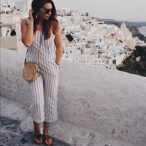 Loft striped jumpsuit